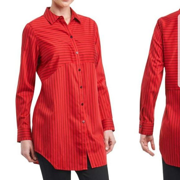 306fd63ba Foxcroft Tops | Red Black Striped Shirt Size 8 | Poshmark